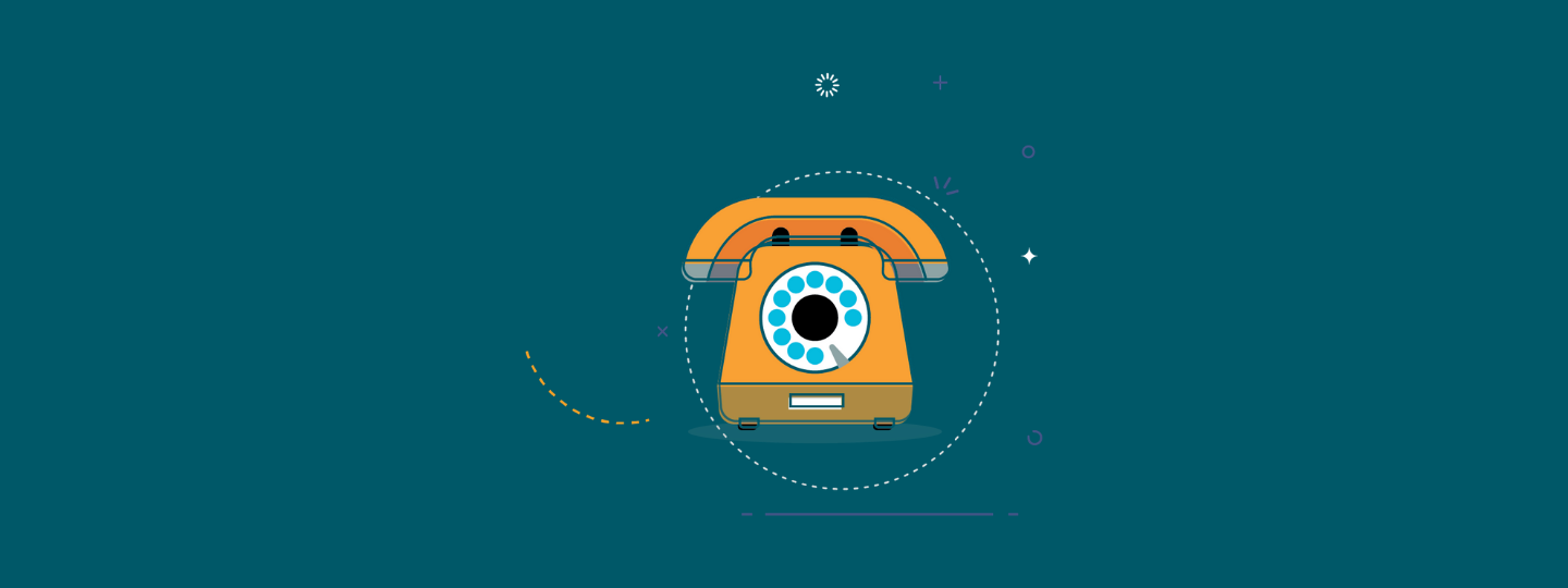 A picture of a cartoon yellow rotary phone on a teal background