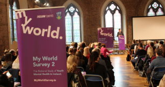 Picture of the My World Survey 2 banner at the event