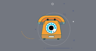 animated image of a rotary phone against a grey background
