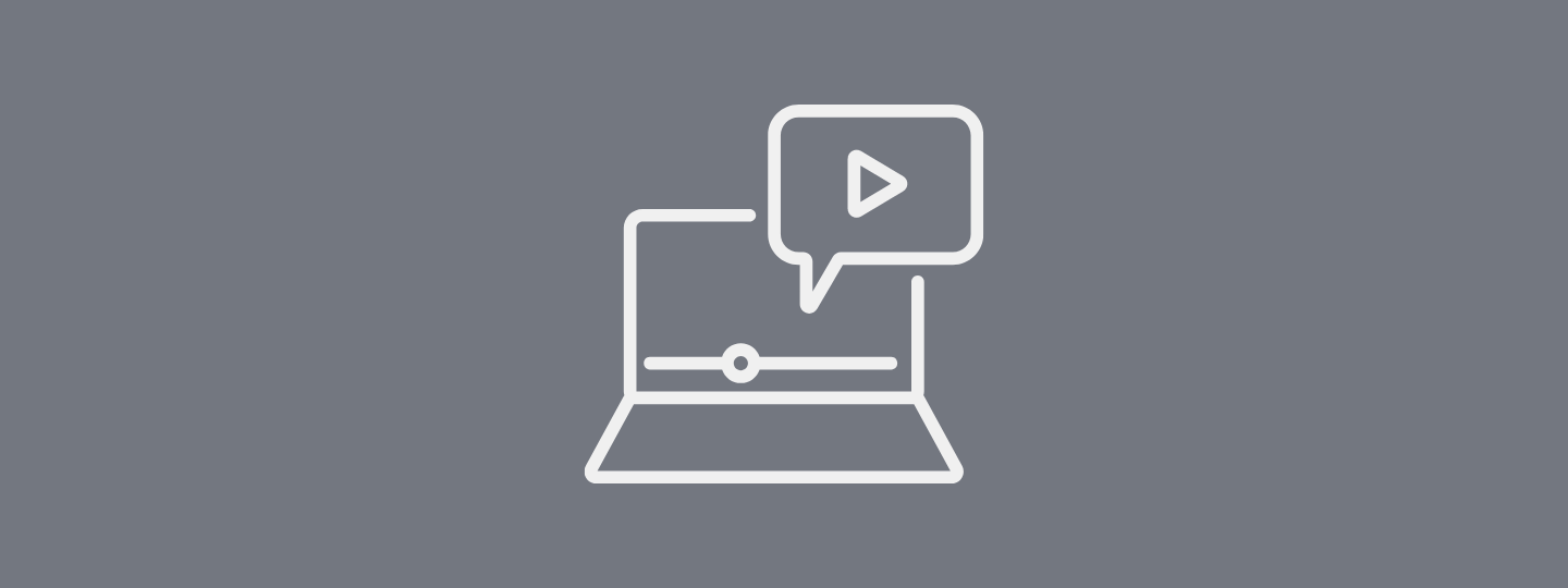 Icon of watching a video on a computer with a grey background