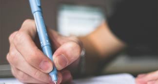 close up of someone writing