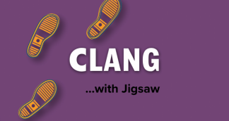 A illustration with footprints and CLANG
