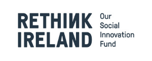 a black and white logo for rethink Ireland