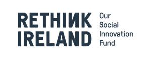 a black and white logo for rethink Ireland