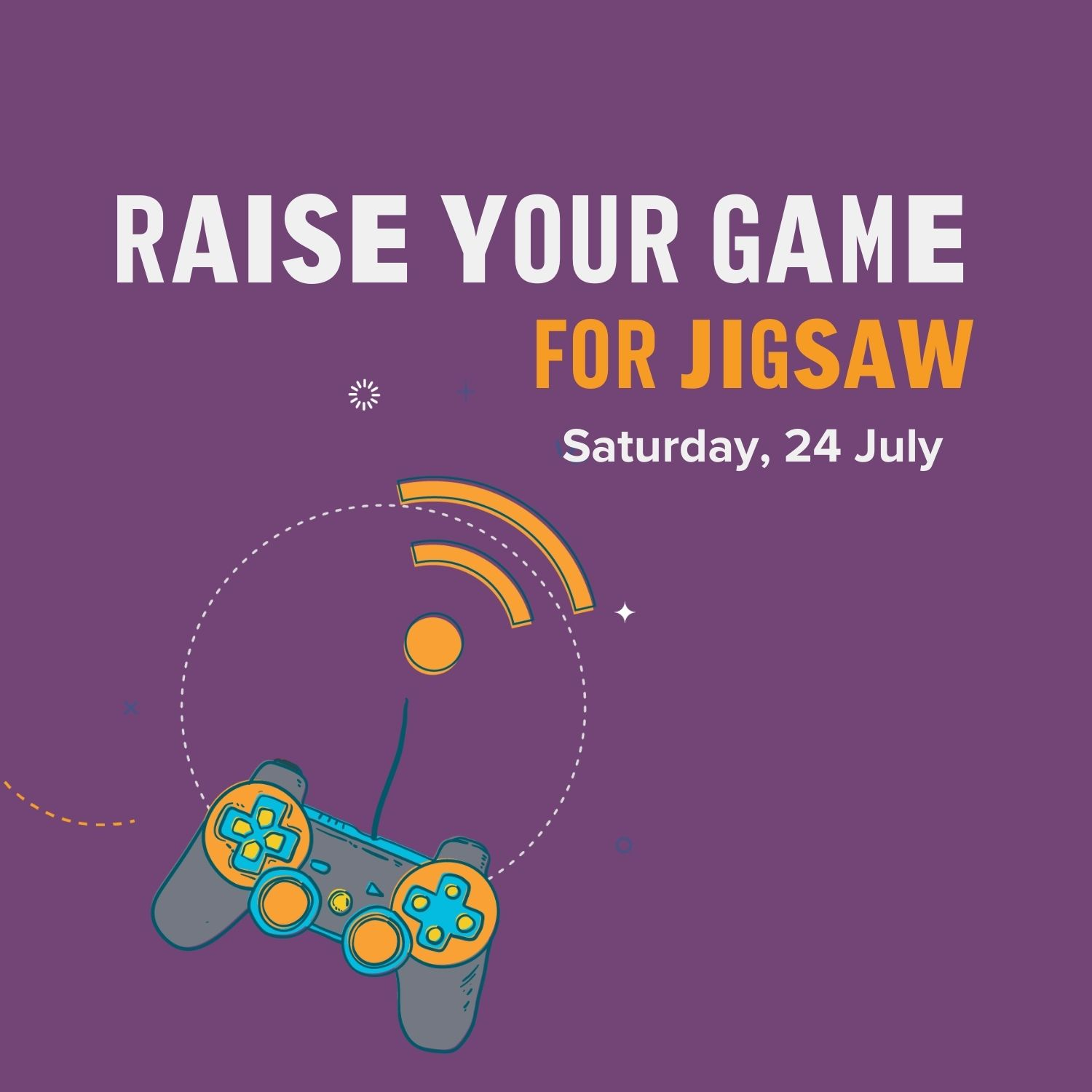 raise your game for jigsaw logo with game controller