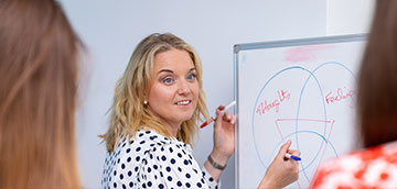 banner of woman at whiteboard